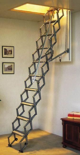 Aluminum Telescopic Attic Stairs Atticdiy Attic Rooms Attic Remodel Attic Stairs