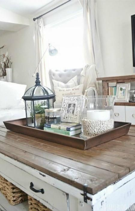 Pin By Lisa Childers On Farmhouse Vignettes Cloches Coffe Table Decor Farm House Living Room Coffee Table