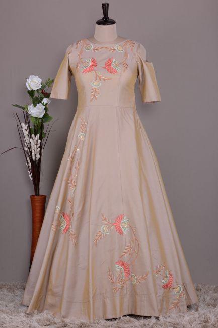 Beige Resham Embroidered Silk Party Wear Salwar Kameez-VF3217
