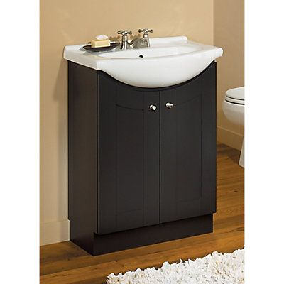 Glacier Bay 24 Inch W Peython Vanity Ensemble In Dark Chocolate With White Porcelain Top The Home Depot Canada Vanity Bathroom Vanity Base
