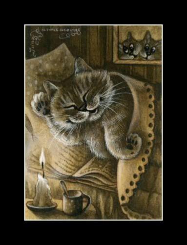 Cat ACEO Autumn Meditation Print by I Garmashova