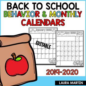 Editable Calendar 2020   2021 | Monthly Behavior | Back to School