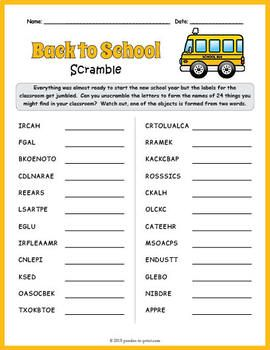 44++ Word scramble worksheet with answers Online