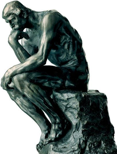 "Auguste Rodin: Sculpture ""The Thinker"" (26 cm), artificial bronze"