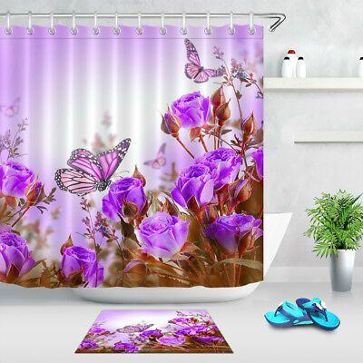 Butterfly Purple Flower Shower Curtain Liner Bathroom Waterproof Fabric Hook Set Ebay In 2020 Flower Shower Flower Shower Curtain Shower Curtain