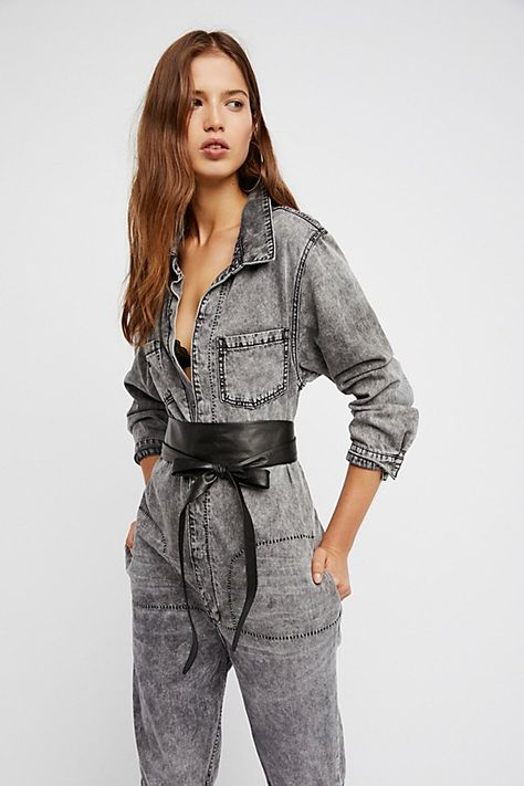 Leather Obi Belt by ADA Collection at Free People, Black