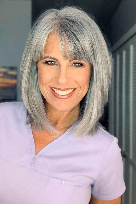 Grey Hair With Bangs, Grey Hair Old, Long Gray Hair, Grey Hair Over 50, Medium Length Hair With Bangs, Grey Hair Mid Length, Grey Hair Looks, Grey Curly Hair, Bob Hairstyles With Bangs