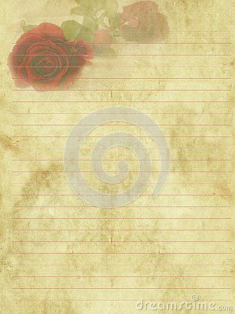 Vintage Romantic Writing Paper For Letters Background Old Paper With Lines In Red Color And Red Roses Writing Paper Old Paper Letter Paper