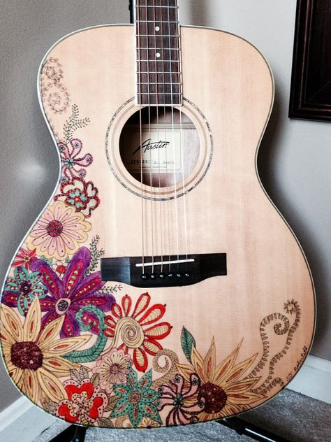 New Austin Acoustic Folk Guitar artfully decorated with