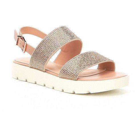 472427210983 ALDO Eliraviel Metallic Rhinestone Flatform Sandals ( 70) ❤ liked on  Polyvore featuring shoes