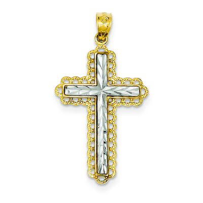 925 Sterling Silver Hollow Polished Reversible Sparkle-Cut Rhodium-plated Latin Crucifix Pendant