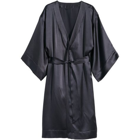 1bab27ca87 H M Silk dressing gown (260 BRL) ❤ liked on Polyvore featuring intimates
