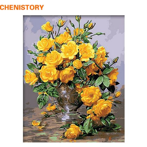 Yellow Flowers Paint By Numbers Kits DIY Number Canvas Hand Painting Oil Painted