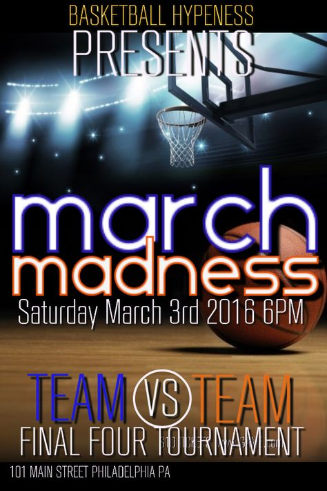 March Madness basketball flyer template design. Click to customize.