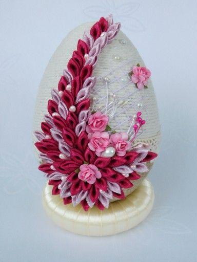 Piekne Jajko Pisanka Ozdoby Wielkanocne Rekodzielo 7165947305 Oficjalne Archiwum Allegro Ribbon Crafts Diy Ribbon Crafts Fabric Ornaments
