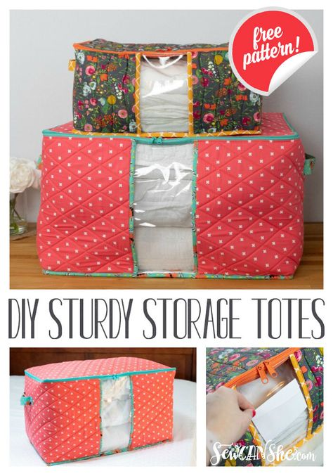 Sewing projects free - DIY Sturdy Storage Totes free sewing pattern in 2 sizes! Bag Patterns To Sew, Sewing Patterns Free, Free Sewing, Free Pattern, Sewing Pattern Storage, Clothes Patterns, Clutch Tutorial, Sewing Hacks, Sewing Tutorials