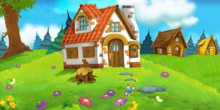 Escena De Dibujos Animados Con Hermosa Casa De Ladrillo Rural En El Bosque En El Prado Ilustracion Para Children Illustration Stock Illustration Forest House