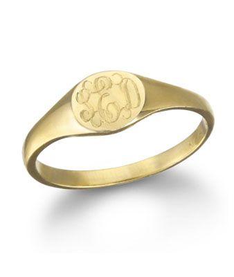 Ginette NY Mini Signet Monogram Ring, Gold