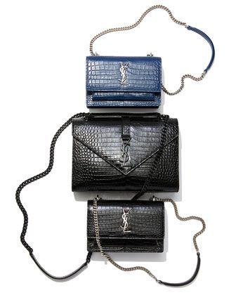 36585e58 Saint Laurent Sunset Monogram YSL Small Crocodile Embossed Wallet on ...