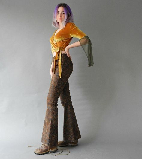 Women's Flare Leather Pants, Bell Bottoms, Music Festival Clothing