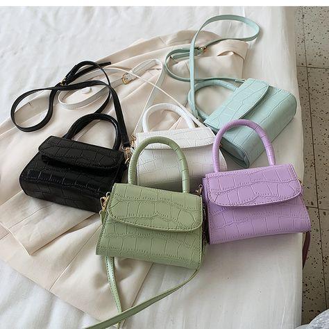 Crocodile patent mini Crossbody Bags For Women 2020 Small Handbag Small Bag PU Leather Hand Bag Ladies Designer Evening Bags Trendy Purses, Cute Purses, Small Handbags, Purses And Handbags, Mini Handbags, Cheap Handbags, Aesthetic Bags, Aesthetic Style, Aesthetic Fashion