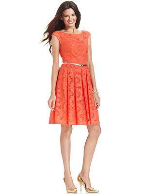 London Times Cap-Sleeve Crochet-Lace Dress