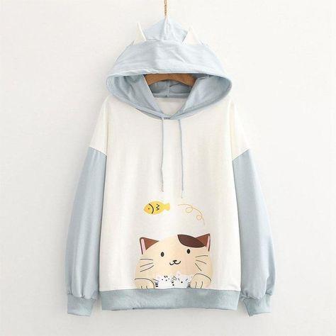 Drop Shoulder Cartoon Cat Fish Print Hoodie Sweatshirt