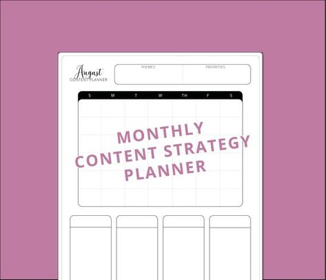 Simple Monthly Content Calendar   Content Strategy Planner (Instant