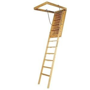 Louisville Big Boy 7 Ft To 8 Ft Rough Opening 60 In X 30 In Folding Wood Attic Ladder With 350 Lbs Capacity Lowes Com In 2020 Attic Ladder Attic Storage Attic Renovation