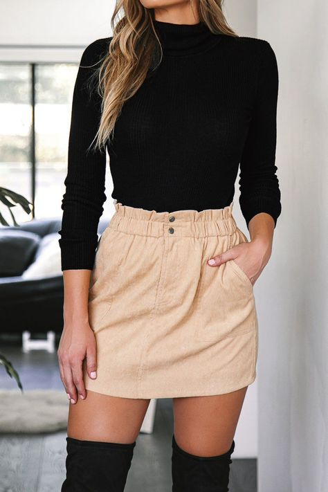 Jameson Beige Corduroy Skirt by Priceless letsbePriceless WomensOutfits SchoolOutfit BacktoSchool FallOutfit CollegeFashion OutfitIdeas DreamCloset 648588783820986076