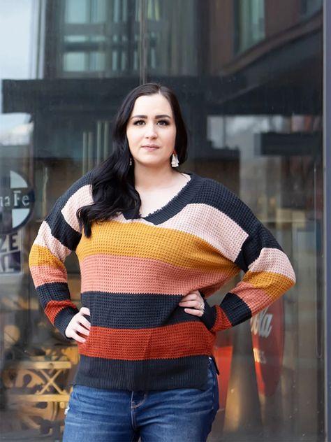Striped Unfinished V-Neck Knit Sweater
