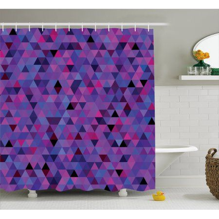 Eggplant Shower Curtain Small Triangles Froming An Abstract Mosaic Pattern Geometric Shapes Modern Art Fabric Bathroom S Mosaic Patterns Small Bathroom Bathroom Sets