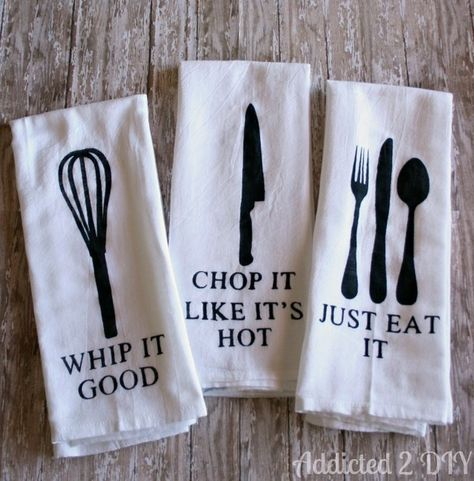 Turn plain kitchen towels into ones whose pun game is on point. | 23 Silly DIY Projects That Will Make You Laugh Out Loud