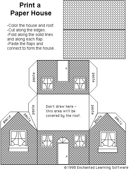 Free template for cardboard house