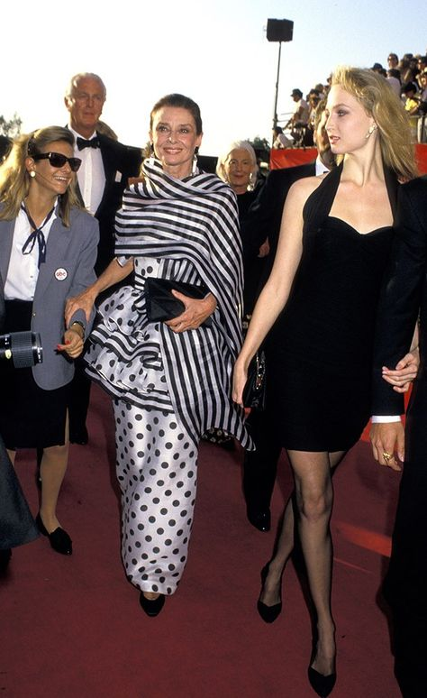 April 1988 | If anyone can rock stripes and polka dots to the Academy Awards, it's Audrey. (Photo viaRon Galella, WireImage/Getty Images) via @AOL_Lifestyle Read more: https://www.aol.com/article/lifestyle/2017/08/17/how-audrey-hepburn-maintained-her-famously-slim-figure/23080437/?a_dgi=aolshare_pinterest#fullscreen