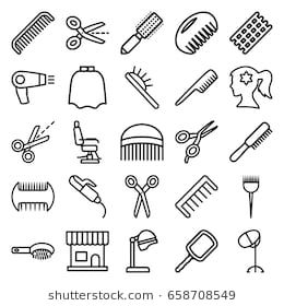 Hairdresser Icons Set Set Of 25 Hairdresser Outline Icons Such As