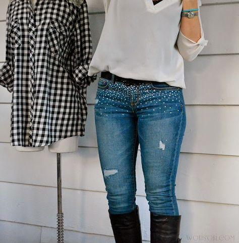 WobiSobi: Embellished Jeans DIY