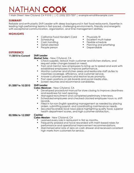 Team Lead Job Description Resume Unique Shift Leader Resume Sample Leader Resumes In 2020 Resume Examples Job Resume Examples Job Cover Letter