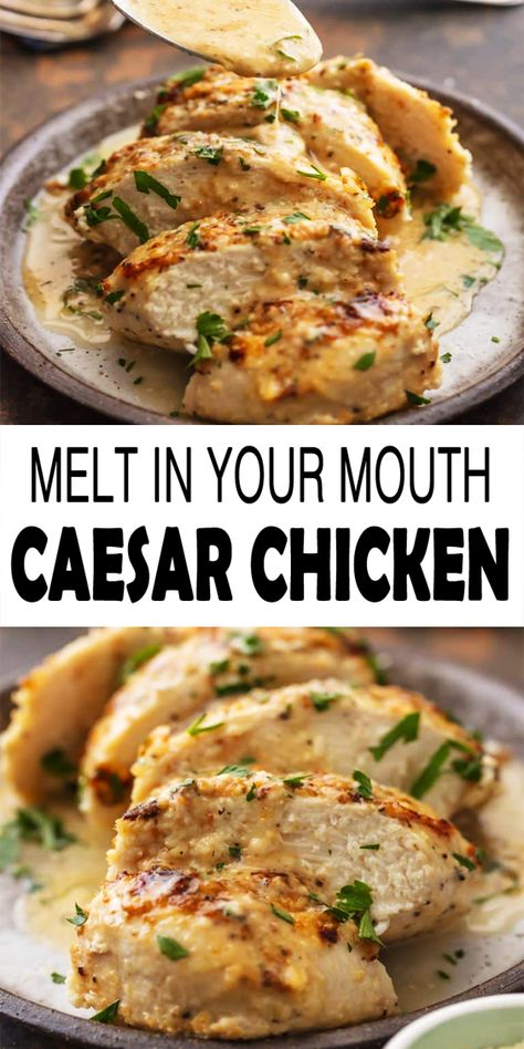 Caesar Chicken is the ideal melt in your mouth recipe! It is creamy easy and full of flavor. This simple chicken recipe just has 4 Ingredients and requires less than 30 minutes. This baked caesar chicken is the easiest and tastiest weeknight dinner ever! Easy Appetizer Recipes, Easy Chicken Recipes, Yummy Dinner Recipes, Chicken Marinade Recipes, Chicken Breast Recipes Healthy, Baked Chicken Breast, Clean Dinner Recipes For Two, Easy Diabetic Recipes, Easy Chicken Dishes