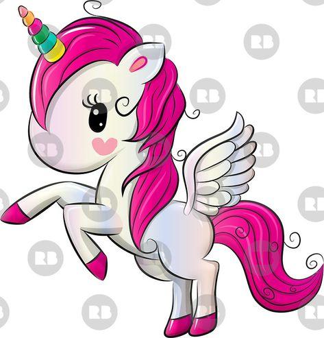 Cartoon Unicorn With Matching Background