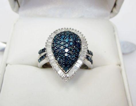 GENUINE BLUE /& WHITE DIAMOND FLOWER RING RHODIUM OVER STERLING SILVER