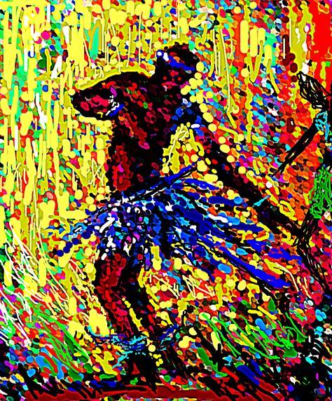 """CELEBRATION""  Digital art of a dancer by Nigerian artist, Peter Akinwumi."
