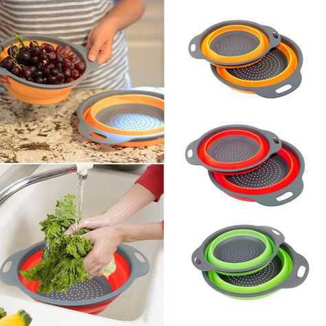 Details about 2Pcs Food-Grade Silicone Collapsible Colander Set ...