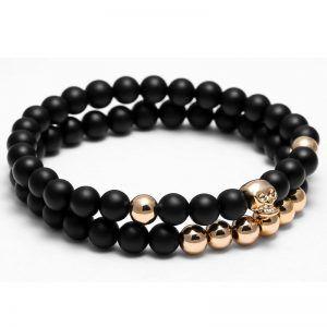 Set Of 2 Black And Gold Skull Beaded Bracelet Luxury