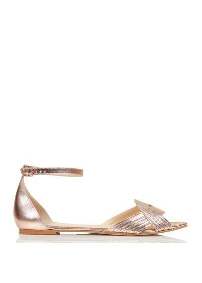 Sandales plates en cuir métallisé Doré by JONAK | Footwear