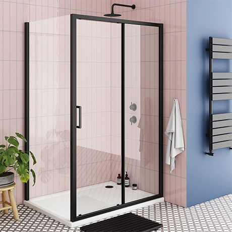 Turin Matt Black 1000 X 800mm Sliding Door Shower Enclosure Pearlstone Tray Victorian Plumbing Uk In 2020 Shower Enclosure Black Shower Sliding Doors