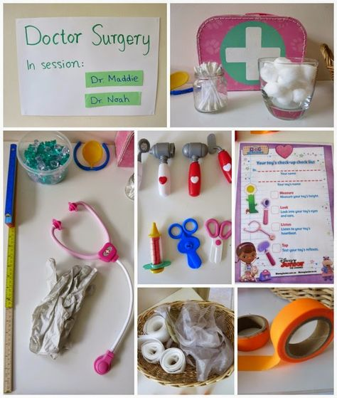 Learn with Play at Home: Toy Doctor Pretend Play with free Printable Doctor's Checklist