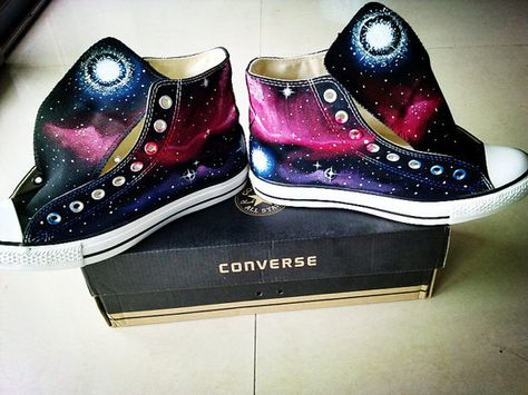 df235764cb7 Galaxy Sneakers Hand Painted Shoes High Top Painted Canvas Shoes ...