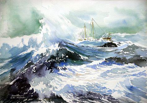 Mer Dechainee Aquarelle Aquarelle Mer Aquarelle Art De La Mer