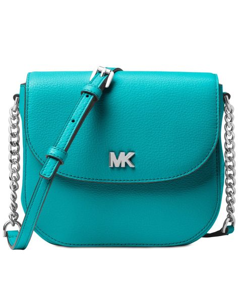 342aa3ddd2a2 Michael Michael Kors Mott Leather Dome Crossbody in Tile Blue